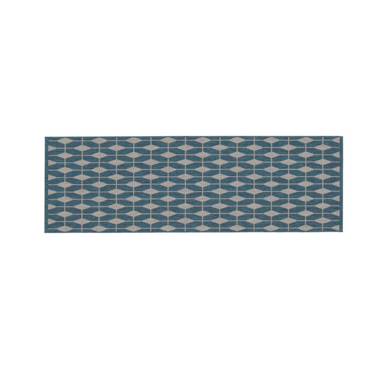 Aldo Blue Indoor-Outdoor 2.5'x8' Rug Runner