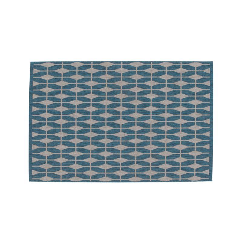 Aldo blue indoor outdoor 4 39 x6 39 rug crate and barrel for Cb2 indoor outdoor rug