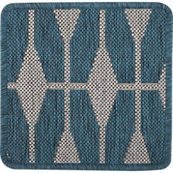 "Aldo Blue Indoor-Outdoor 12"" sq. Rug Swatch"