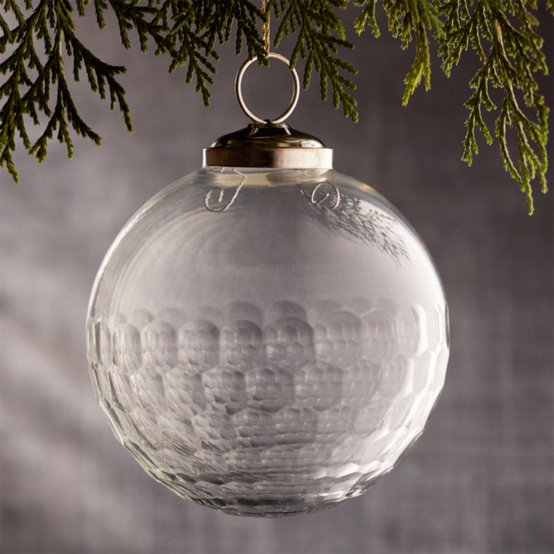 "Alexandra Clear 4"" Glass Ball Ornament"