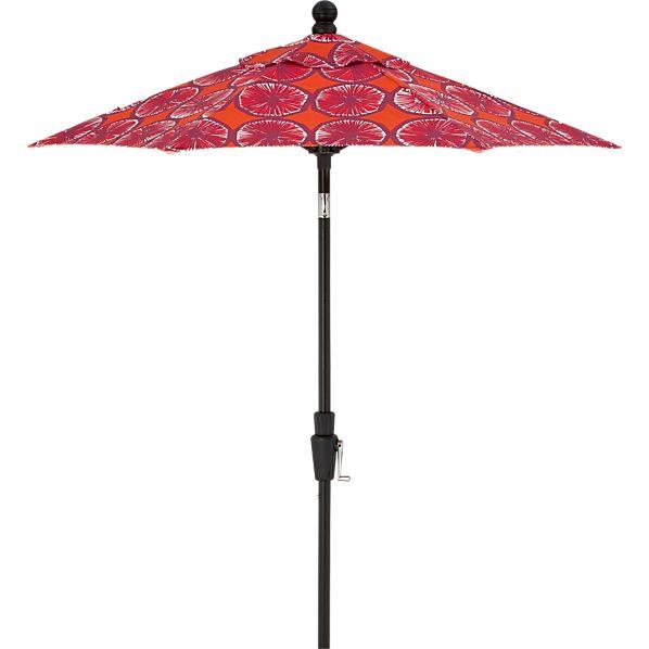6' Round Marimekko Appelsiini Caliente Umbrella with Black Frame