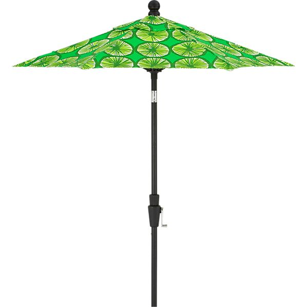 6' Round Marimekko Appelsiini Green Umbrella with Black Frame