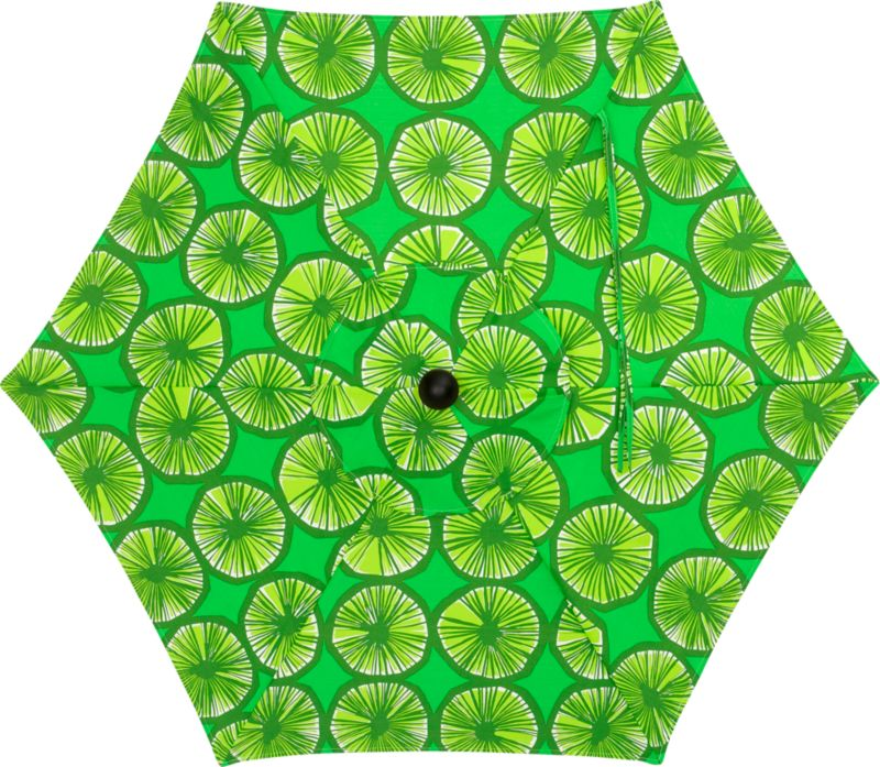 "The Appelsiini green umbrella canopy is made of weather- and UV-resistant Spun Polyester. Designed in 1950, Appelsiini (""orange"") represents one of the first patterns created by legendary Marimekko designer Maija Isola. Steeped in rich color and deliberate detail, linear rows of green-colored orange slices are abundant in graphic repetition. With painting supplies scarce in the early 1950s, Maija experimented with crayons to achieve similar color saturation. Drawing patterns on thin sheets of paper, she would dampen them on a wooden board, allowing the hues to deepen and permeate the page in a painterly effect. Appelsiini represents this unconventional method. Fits our 6' round frames. (Frames and stands sold separately).<br /><br /><NEWTAG/><ul><li>Pattern designed by Maija Isola; early 1950s</li><li>Cover: Weather- and UV-resistant Spun Polyester (fits our 6' round frames; spot clean)</li></ul><br />"