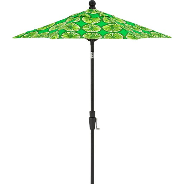 6' Round Marimekko Appelsiini Green High Dining Umbrella with Black Frame