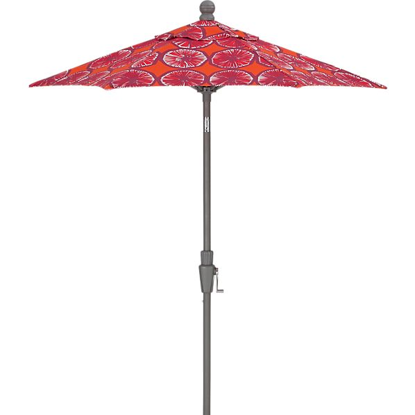 6' Round Marimekko Appelsiini Caliente High Dining Umbrella with Silver Frame