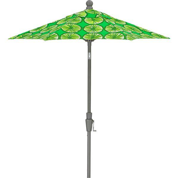 6' Round Marimekko ® Appelsiini Green Umbrella with Silver Frame
