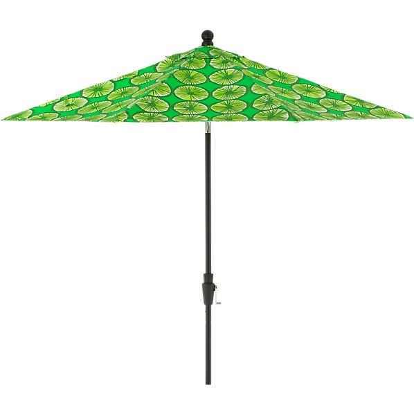 9' Round Marimekko Appelsiini Green Umbrella with Black Frame