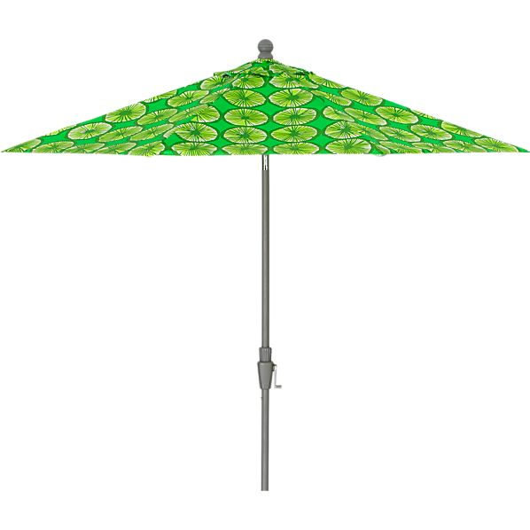 9' Round Marimekko Appelsiini Green Umbrella with Silver Frame