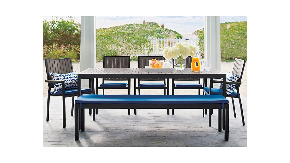 alfresco grey rectangular dining table crate and barrel