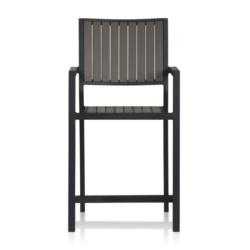"""This casual and stylish counter stool from our Alfresco outdoor dining collection fools the eye with the look of real wood while fooling the elements with water- UV- and fade-resistant qualities. <NEWTAG/><ul><li>Extruded polystyrene with UV and anti-oxidant protection</li><li>Aluminum frame with powdercoat finish</li><li>Stacks up to 4 high for easy storage</li><li>24""""H seat sized for counters or Alfresco High Dining Table</li><li>Made in China</li></ul><br />"""