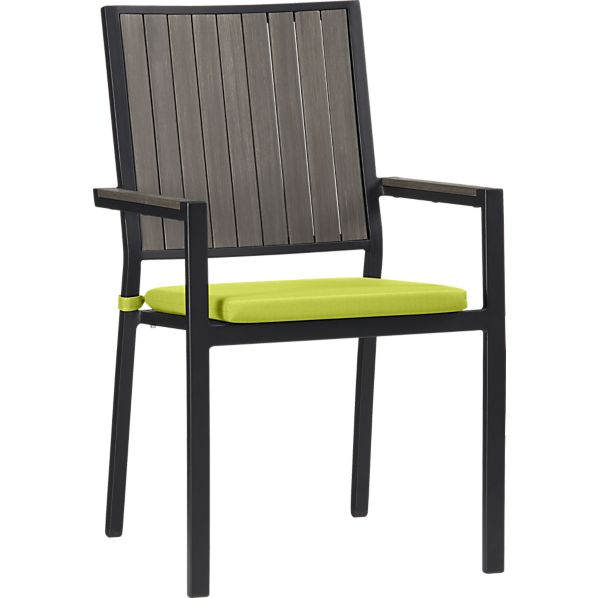 Alfresco Grey Dining Chair with Sunbrella ® Apple Cushion