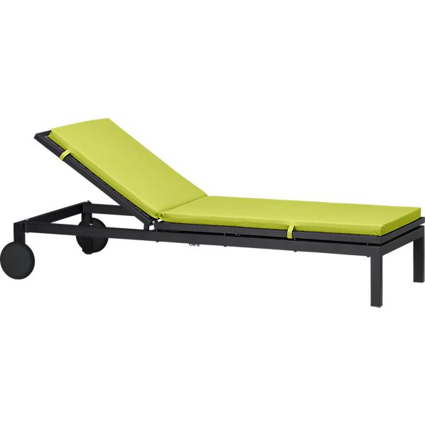 Alfresco Grey Chaise Lounge with Sunbrella ® Apple Cushion