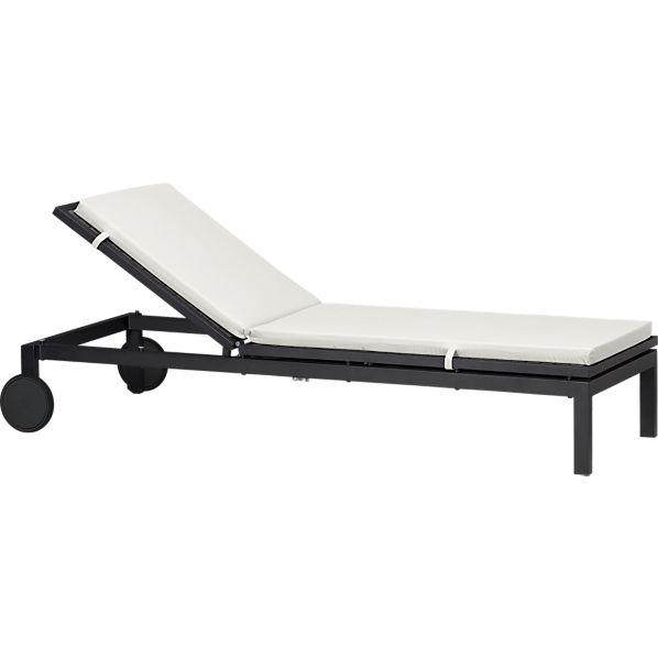 Alfresco Grey Chaise Lounge with Sunbrella ® White Sand Cushion