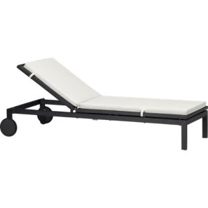Alfresco Grey Chaise Lounge with Sunbrella® White Sand Cushion