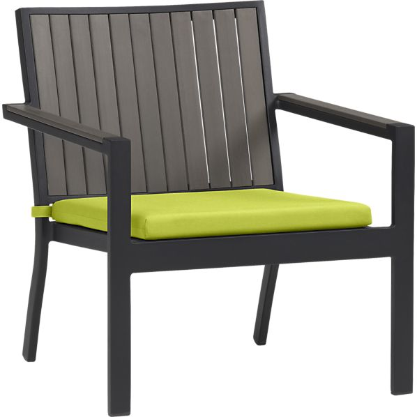 Alfresco Grey Lounge Chair with Sunbrella ® Apple Cushion