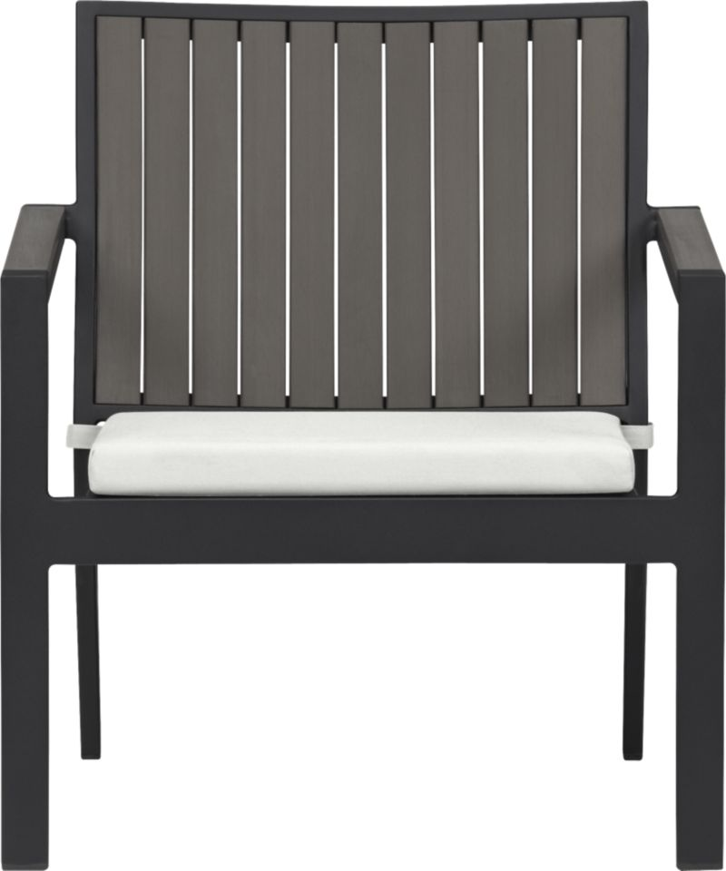 Casual and stylish Alfresco fools the eye with the look of real wood and fools the elements with waterproof, and UV- and fade-resistant qualities. The result is an outdoor collection that will last season after season for years to come. Slats of innovative polystyrene faux wood are treated with UV and anti-oxidant protection and finished a warm grey. Sturdy but lightweight aluminum frames are powdercoated black. Low-slung lounge chairs with angled backs have slatted faux wood. Eggshell cushion is fade- and mildew-resistant Sunbrella® acrylic. Alfresco grey dining collection also available.<br /><ul><li>Extruded polystyrene with UV and anti-oxidant protection</li><li>Rustproof aluminum frame with powdercoat finish</li><li>Chair cushion is fade- and mildew-resistant Sunbrella acrylic</li><li>Polyfoam cushion fill</li><li>Cushion with fabric tab fasteners; spot clean</li></ul><NEWTAG/>