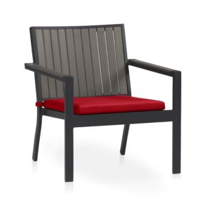 Alfresco Grey Lounge Chair with Sunbrella® Red Ribbon Cushion