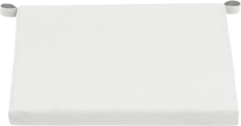 Optional eggshell cushion is fade- and mildew-resistant Sunbrella acrylic.<br /><ul><li>Fade- and mildew-resistant Sunbrella acrylic</li><li>Polyfoam cushion fill</li><li>Fabric tab fasteners; spot clean</li><li>Made in USA</li></ul><NEWTAG/>
