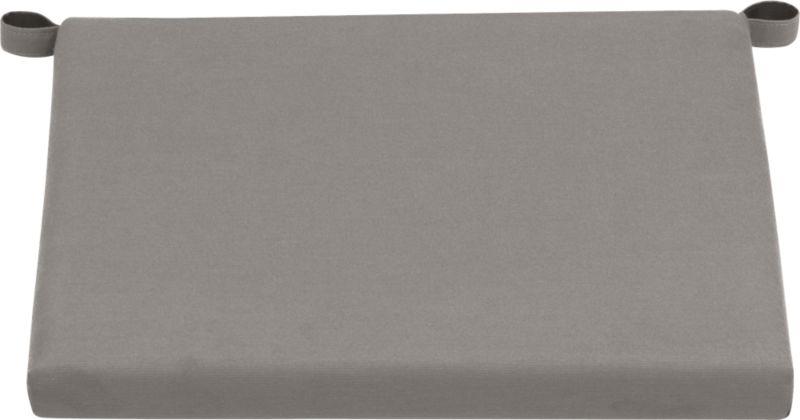 Optional graphite cushion is fade- and mildew-resistant Sunbrella acrylic.<br /><ul><li>Fade- and mildew-resistant Sunbrella acrylic</li><li>Polyfoam cushion fill</li><li>Fabric tab fasteners; spot clean</li><li>Made in China</li></ul><NEWTAG/>