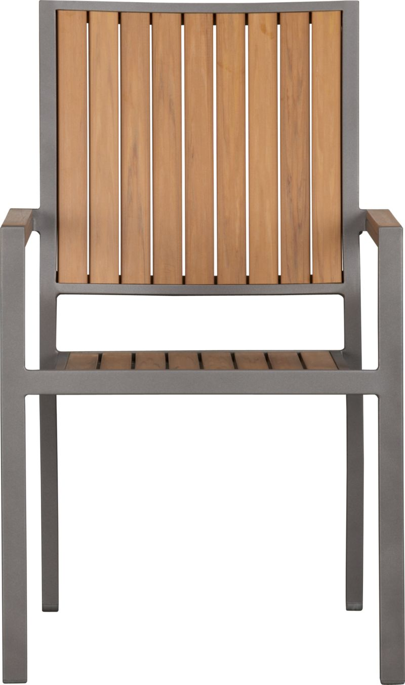 Casual and stylish Alfresco fools the eye with the look of real wood and fools the elements with waterproof, and UV- and fade-resistant qualities. The result is an outdoor collection that will last season after season for years to come. Slats of innovative Polystyrene faux wood are treated with UV and anti-oxidant protection and finished a neutral natural. Sturdy but lightweight aluminum frames are powdercoated silver. Slat arm chairs stack up to four high for easy storage. Alfresco Natural lounge collection also available.<br /><ul><li>Extruded polystyrene with UV and anti-oxidant protection</li><li>Rustproof aluminum frame with powdercoat finish</li><li>Stacks up to four high for easy storage</li><li>Made in China</li></ul><NEWTAG/>