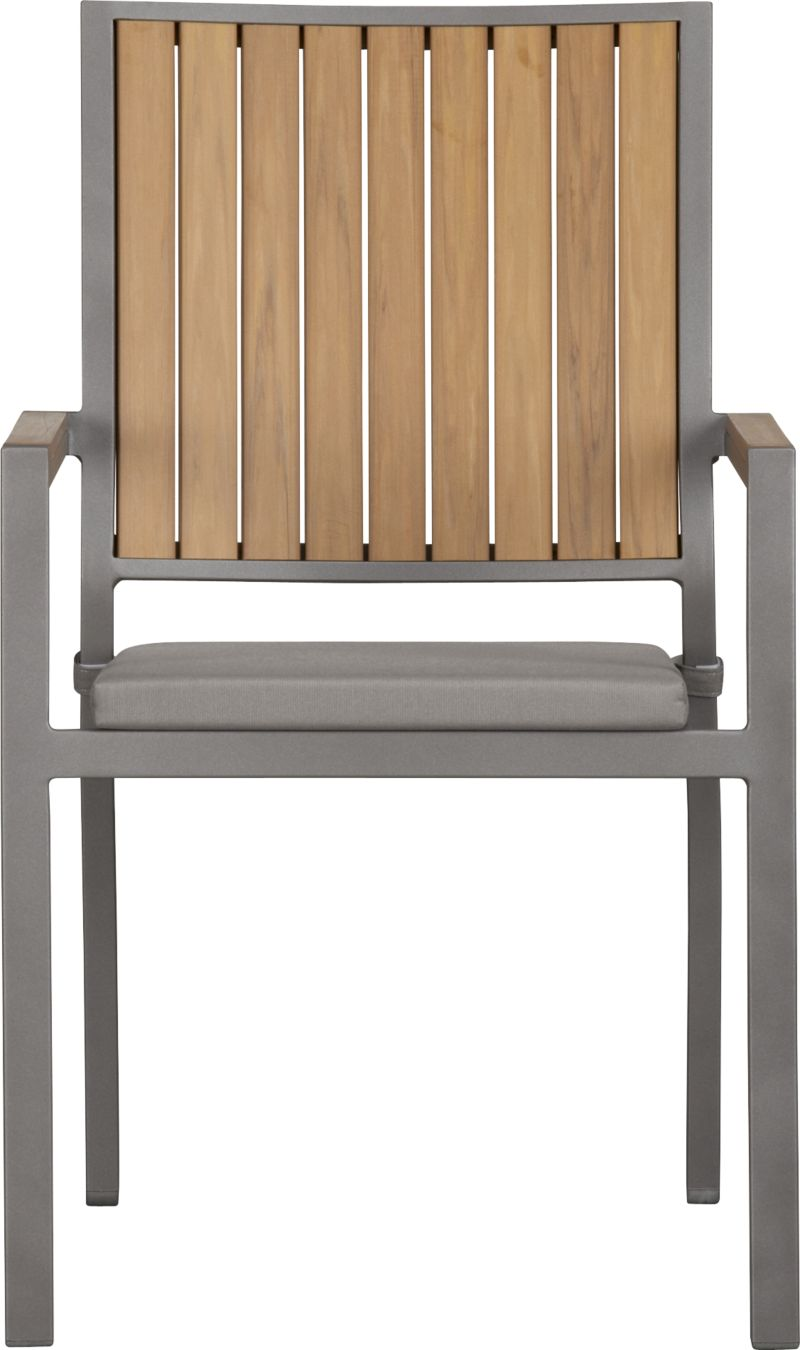 Casual and stylish Alfresco fools the eye with the look of real wood and fools the elements with waterproof, and UV- and fade-resistant qualities. The result is an outdoor collection that will last season after season for years to come. Slats of innovative polystyrene faux wood are treated with UV and anti-oxidant protection and finished a neutral natural. Sturdy but lightweight aluminum frames are powdercoated silver. Slat arm chairs stack up to four high for easy storage. Optional graphite cushion is fade- and mildew-resistant Sunbrella® acrylic. Alfresco natural lounge collection also available.<br /><br /><NEWTAG/><ul><li>Extruded polystyrene with UV and anti-oxidant protection</li><li>Rustproof aluminum frame with silver powdercoat finish</li><li>Chair cushion is fade- and mildew-resistant Sunbrella acrylic</li><li>Polyfoam cushion fill</li><li>Cushion with fabric tab fasteners; spot clean</li><li>Stacks up to four high for easy storage</li><li>Made in China and USA</li></ul>