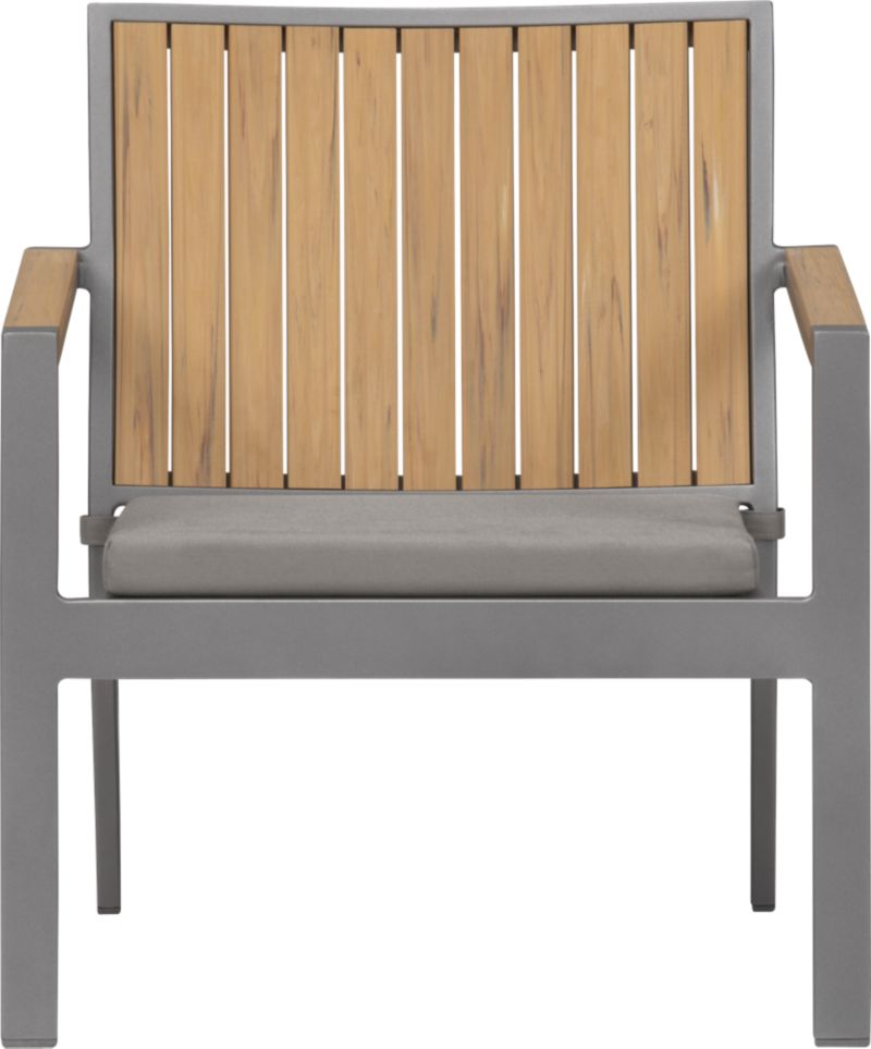 Casual and stylish Alfresco fools the eye with the look of real wood and fools the elements with waterproof, and UV- and fade-resistant qualities. The result is an outdoor collection that will last season after season for years to come. Slats of innovative Polystyrene faux wood are treated with UV and anti-oxidant protection and finished a neutral natural. Sturdy but lightweight aluminum frames are powdercoated silver. Low-slung lounge chair with angled back has slatted faux wood. Graphite cushion is fade- and mildew-resistant Sunbrella® acrylic. Alfresco Natural dining collection also available.<br /><ul><li>Extruded polystyrene with UV and anti-oxidant protection</li><li>Rustproof aluminum frame with powdercoat finish</li><li>Chair cushion is fade- and mildew-resistant Sunbrella acrylic</li><li>Polyfoam cushion fill</li><li>Cushion with fabric tab fasteners; spot clean</li><li>Made in China and USA </li></ul><NEWTAG/>