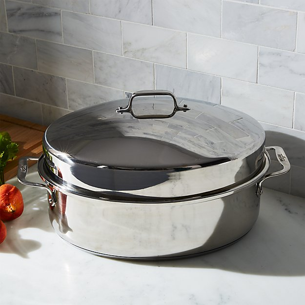 All Clad 174 Oval Roasting Pan With Lid Crate And Barrel