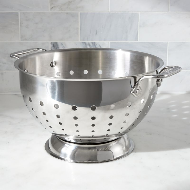 All Clad 174 5 Qt Stainless Steel Colander Crate And Barrel