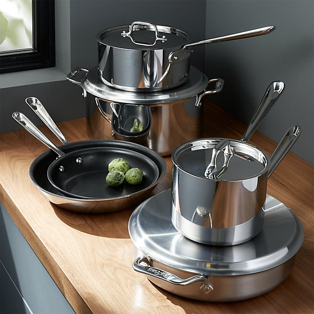 All Clad Stainless Steel Non Stick 10 Piece Cookware Set With Bonus Crate And Barrel
