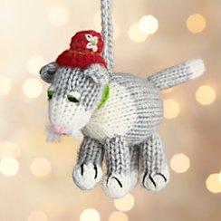 Alpaca Cat with Top Hat Crochet Ornament