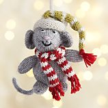 Alpaca Christmas Mouse with Red Scarf Ornament
