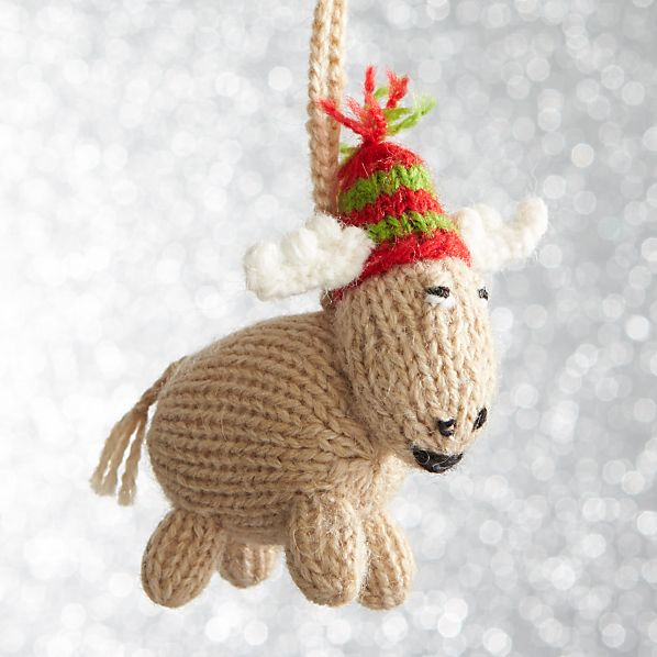 Alpaca Chubby Moose with Hat Standing Ornament