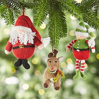 Alpaca Santa Claus, Elf and Reindeer Christmas Ornaments