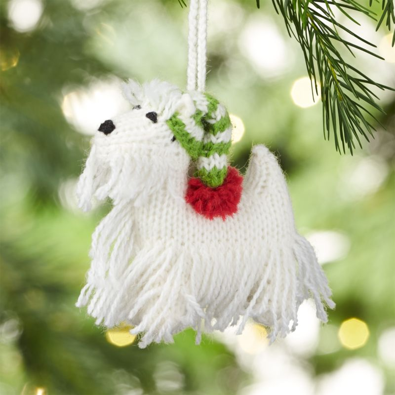 Alpaca Westie with White Hat Christmas Ornament