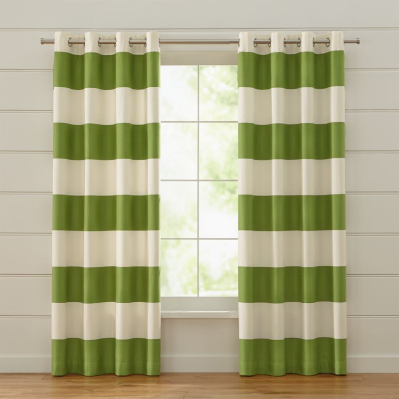 Alston Ivory Green Striped Curtains Crate And Barrel