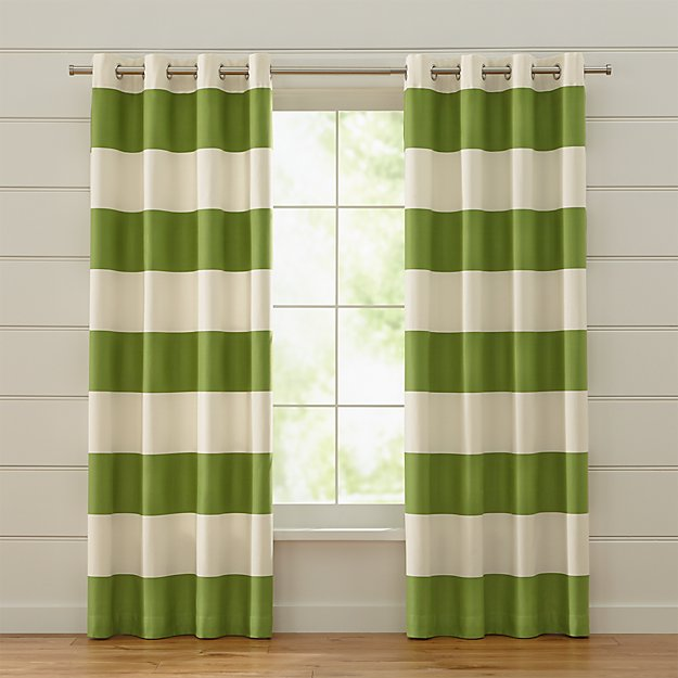 Alston Ivory/Green Striped Curtains