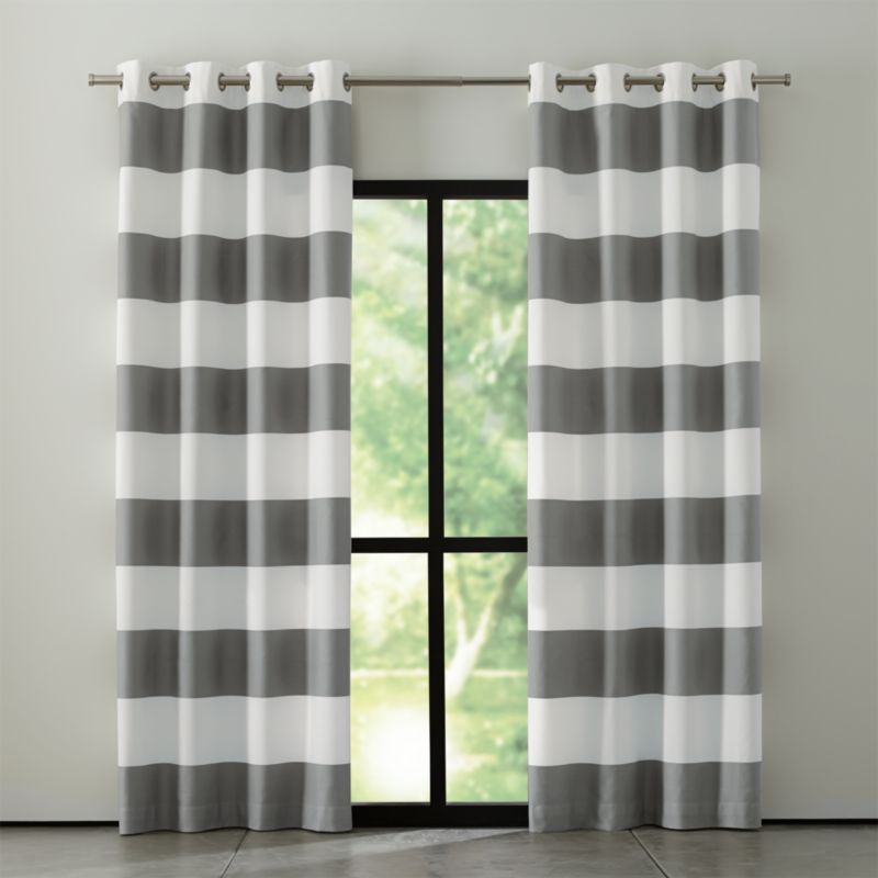 Alston Ivory Grey Striped Curtains
