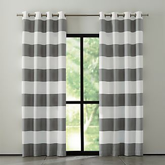 Alston Ivory/Grey Striped Curtains
