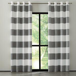 "Alston 50""x96"" Ivory/Grey Striped Curtain Panel"