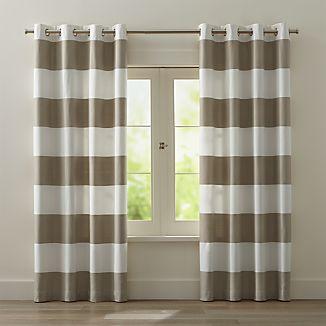 Alston Ivory/Khaki Striped Curtains