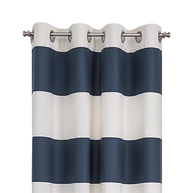 "Alston 50""x84"" Ivory/Blue Striped Curtain Panel"