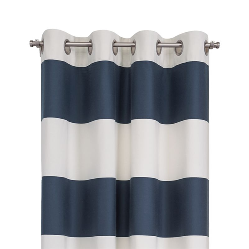 "Alston 50""x96"" Ivory/Blue Striped Curtain Panel"