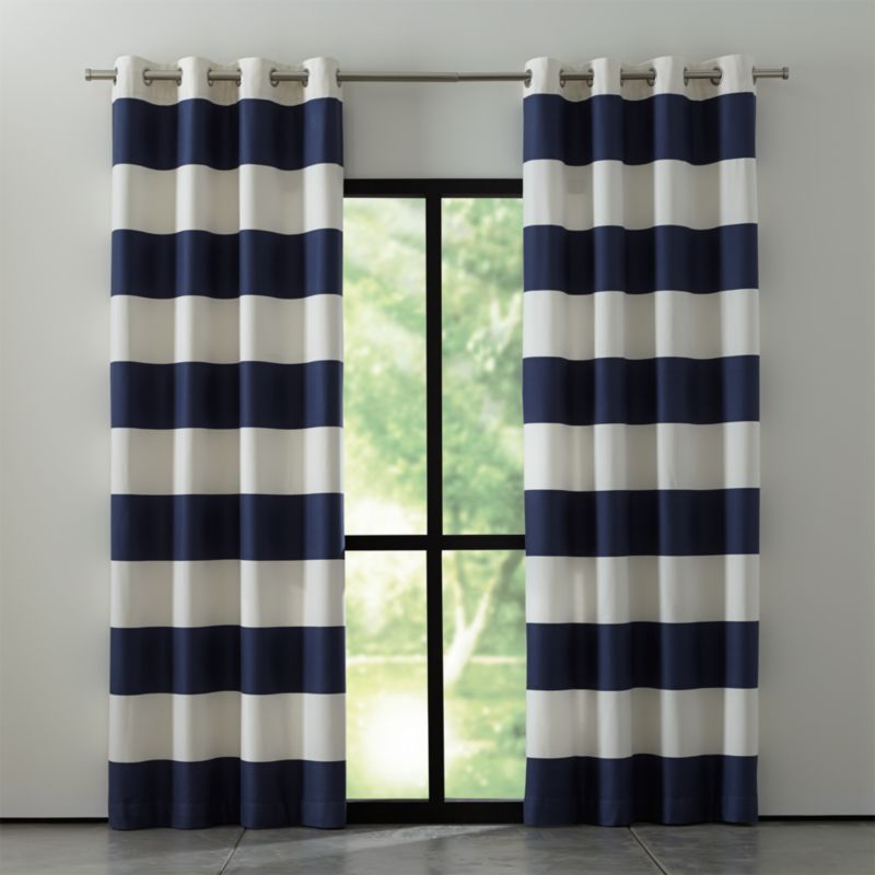 Alston Ivory Blue Striped Curtains Crate And Barrel