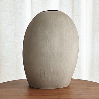 Alura Tall Light Grey Oval Ceramic Vase