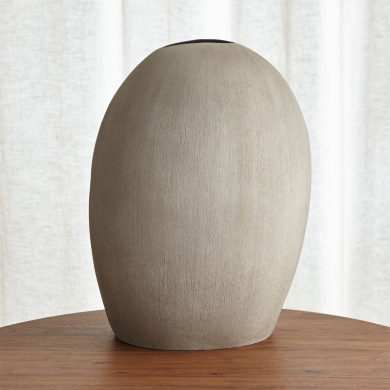 Alura Tall Light Grey Oval Ceramic Vase