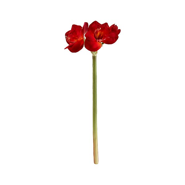 Red Amaryllis Artificial Flower Stem