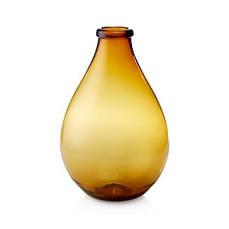 Amber Orange-Yellow Recycled Glass Floor Vase