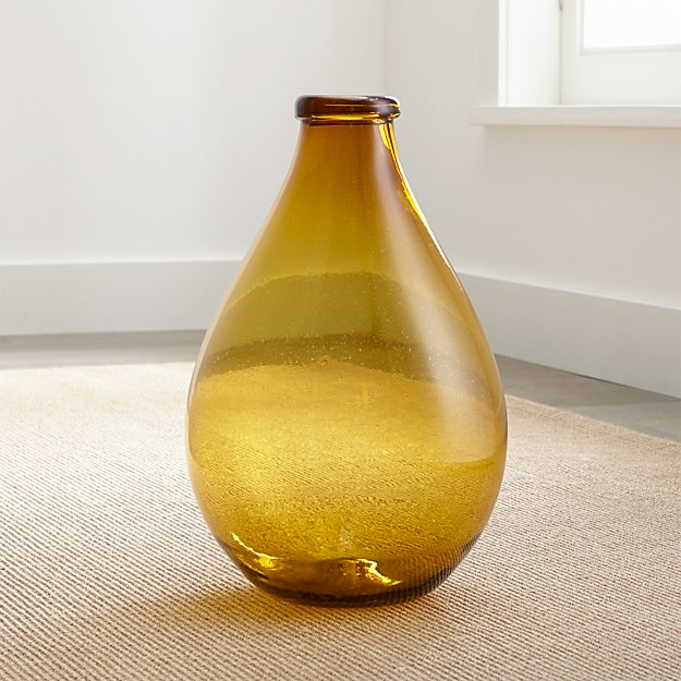 Amber Recycled Glass Floor Vase