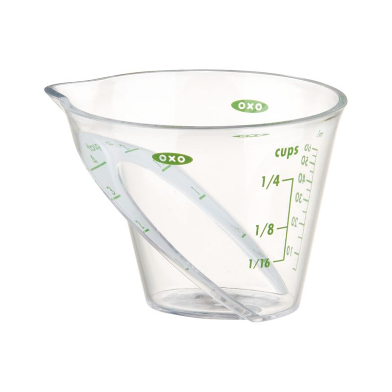 Great gadget for the baking and cooking enthusiast. An innovative design lets you read measurements from above, eliminating the need to crouch down to eye level. Includes metric measurements for added convenience.<br /><br /><NEWTAG/><ul><li>Heavy-duty plastic</li><li>Microwave and top-rack dishwasher-safe</li></ul>