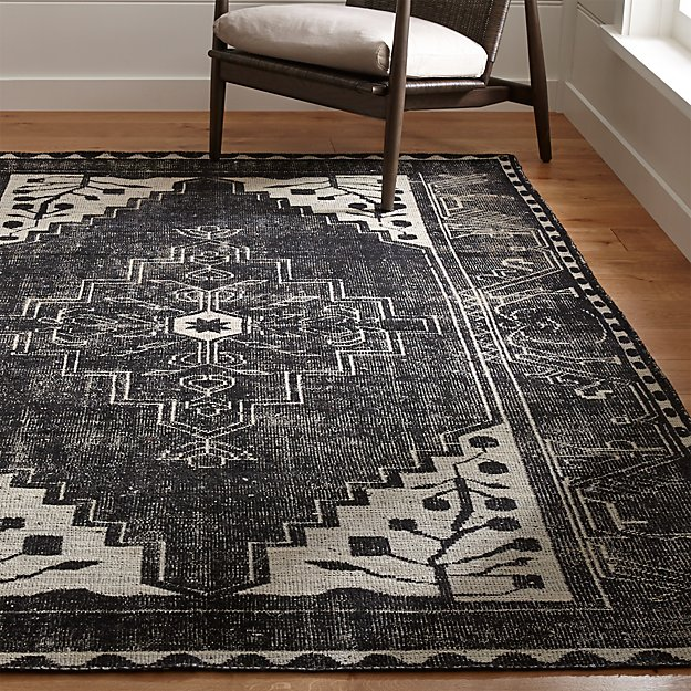 Shop Persian Oriental New Zealand Wool Area Rug: Anice Black Hand Knotted Oriental Rug